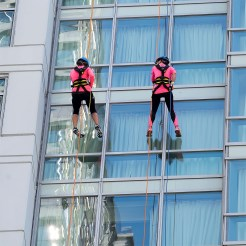 """Rappelling a minor """"Chicago Canyon"""" wall."""