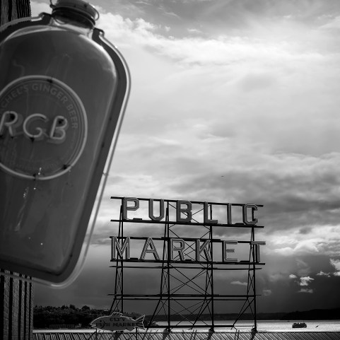 Rachel's Ginger Beer and the Public Market sign.