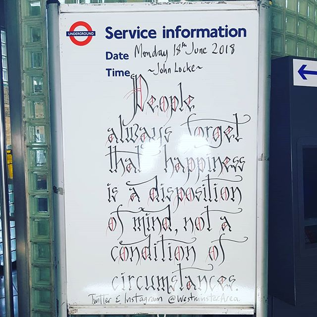 People always forget that happiness is a disposition of mind, not a condition of circumstances. #happiness #wisdom #circumstances #Monday #philosophy #johnlock #Southwark @westminsterarea