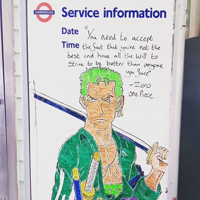 You need to accept the fact that you are not the best and have all the will to strive to be better that anyone you face. #strivetobebetter #motivation #Southwark #London #onepiece #zoro