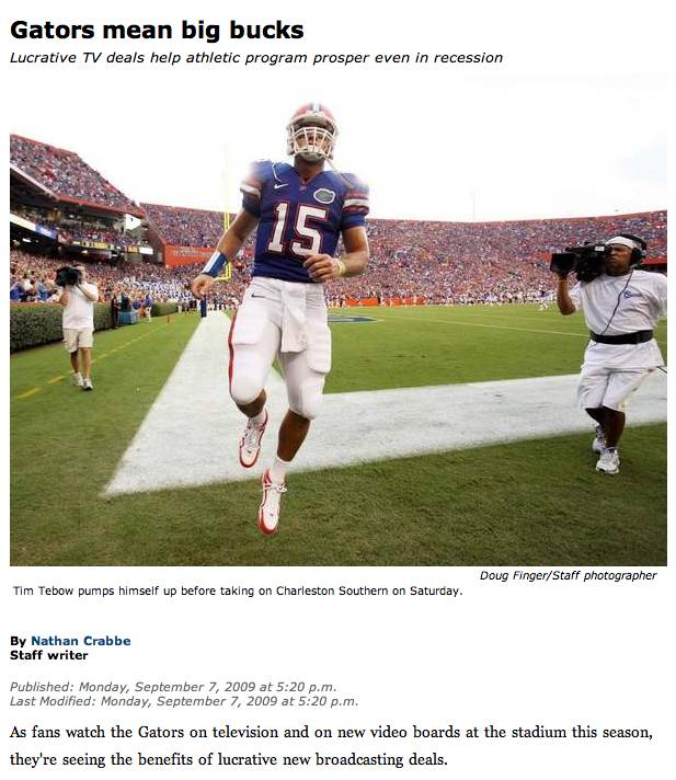 Gainesville Sun's lead story for Sept. 7, 2009