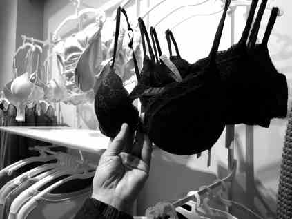 bra hanging in a store
