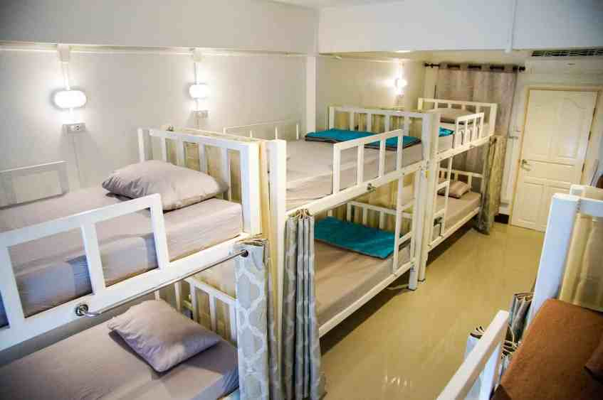 Dormitory with bunker beds at A Good Place Hostel, Chiang Mai.