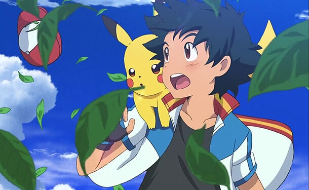 Ash and Pikachu in action in an episode of the Pokémon Anime series