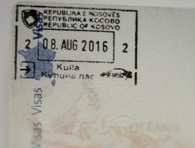 Tampon du Kosovo sur mon passeprot