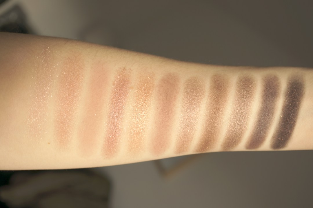 urban decay naked 3 swatches arm
