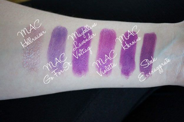 purple lipstick comparison