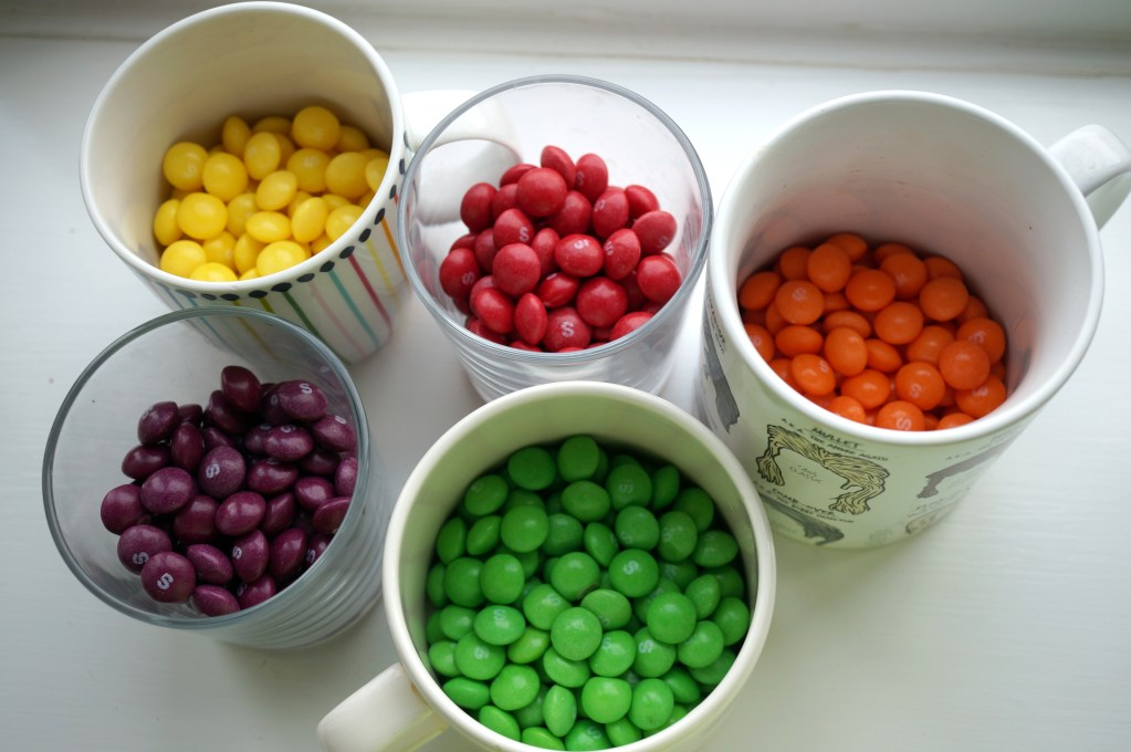 separated skittles