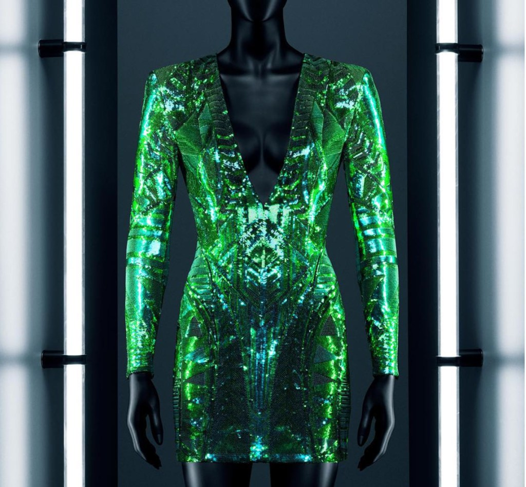 hm-balmain-green-mini-dress