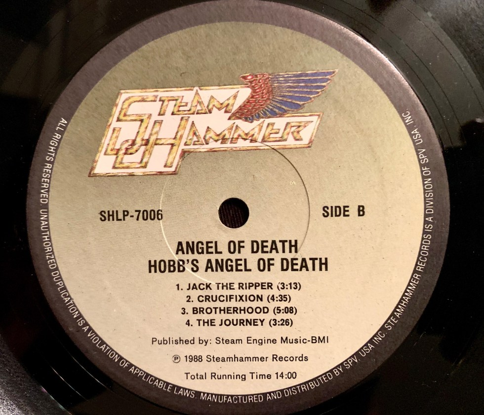 hobbs angel of death 1988 Pressing SHCD 7006