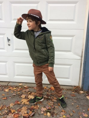 Cullen's completed costume, he was a Park Ranger, we bought the coat from Target and I made the patches. He had the Junior Ranger hat on his bedroom wall, that's how he came up with his costume, we just had to figure out how to make him look like a ranger.
