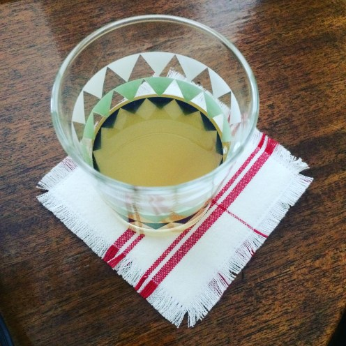 I used a piece of the leftover tea towel to make a coaster, I cut two square pieces of towel, cut two smaller pieces of fusible interfacing, I ironed on the interfacing to the towel squares. I sewed around the edges, close to the edge of the interfacing then frayed the edges.