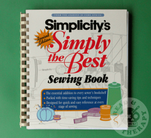 Simplicity's Simply the Best Sewing Book against a green background.