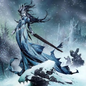 Winter witch in a snowy landscape.