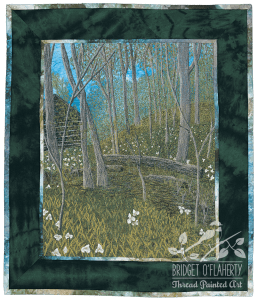 Trilliums in the Woods. thread painted art by Bridget O'Flaherty