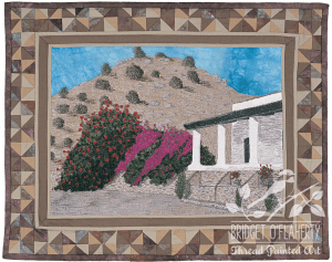Bougainvillea in the Desert thread painted art by Bridget O`Flaherty