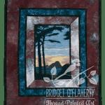 Long Beach Sunset thread painting by Bridget O'Flaherty