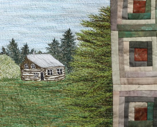 Detail of Log Cabin Thread painting
