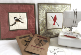 Beginner Patterns for Thread painting, chickadee and cardinal wall hangings with a sewing machine