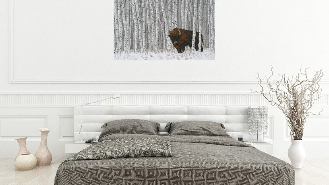 Thread painting of bison in aspen in bedroom setting