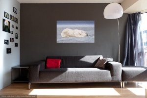 Tranquillity Thread painting set in living room with grey walls