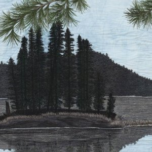 Precious Moments Thread Painting of islands and water with a pine tree in the foreground