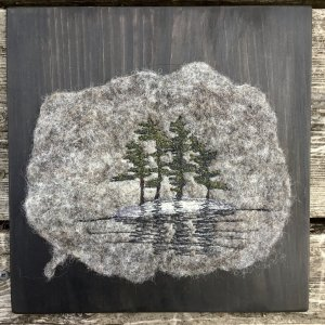 Island Camping scene felted thread art mounted on pine board