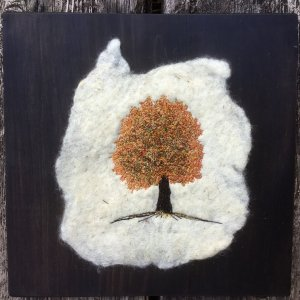 fall ma[;e tree free motion machine embroidered on felted fabric and pine board.