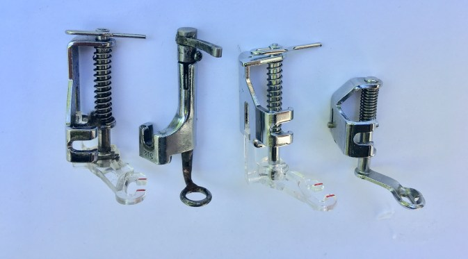 4 different kinds of free motion feet for a sewing machine
