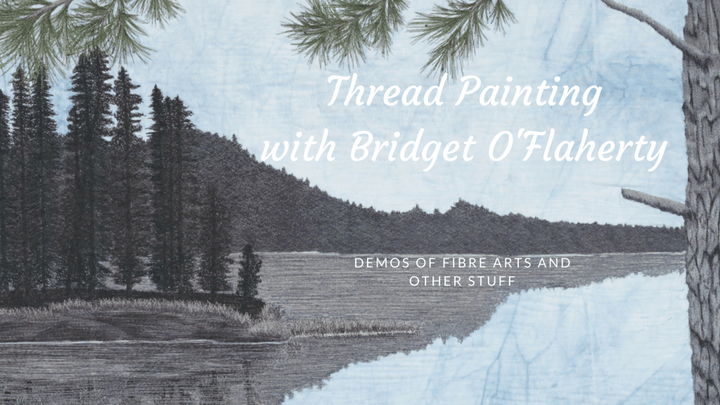 thread painting of an island with description of Bridget O'Flaherty's YouTube Channel and Sew with me Sunday
