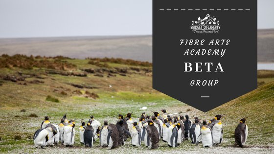 penguins in a group, text is for fibre arts academy beta group