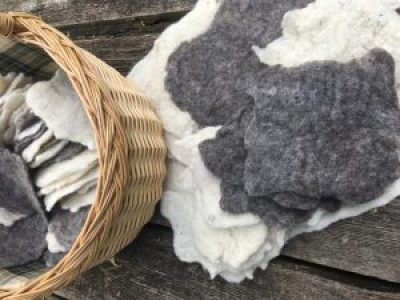 felted pieces in a basket
