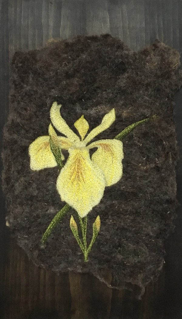 Thread Painted art on felt. Yellow iris embroidery free motion
