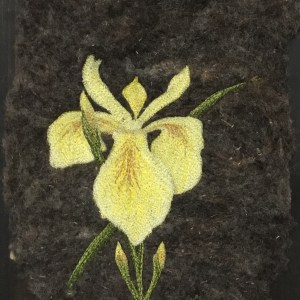 Thread Painted art on felt. Yellow iris embroidery free motion