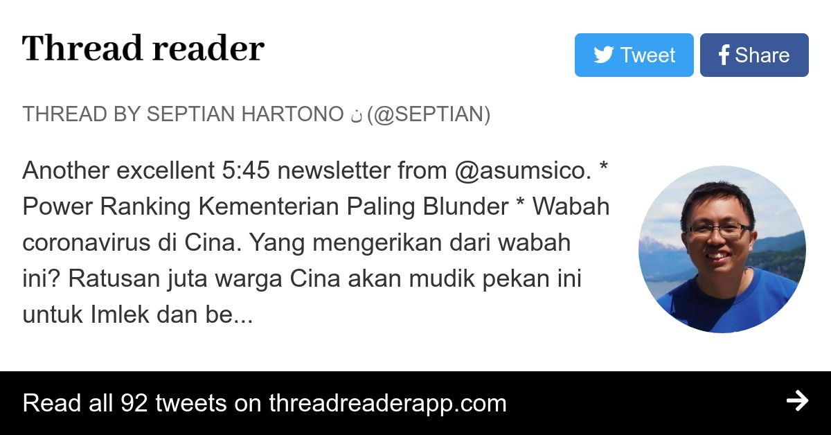 Thread by @septian: Another excellent 5:45 newsletter from ...