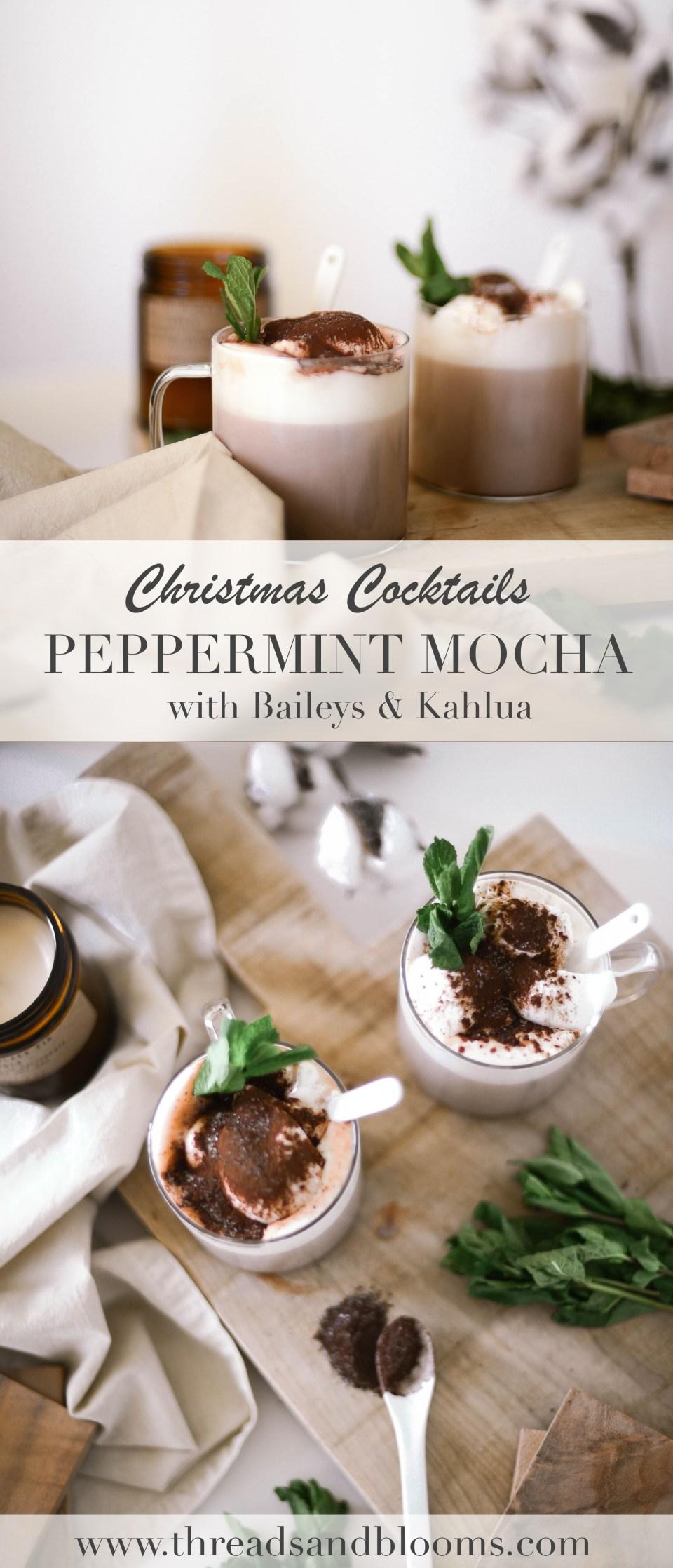 Christmas Cocktails using Kahlua and Baileys - the Peppermint Mocha