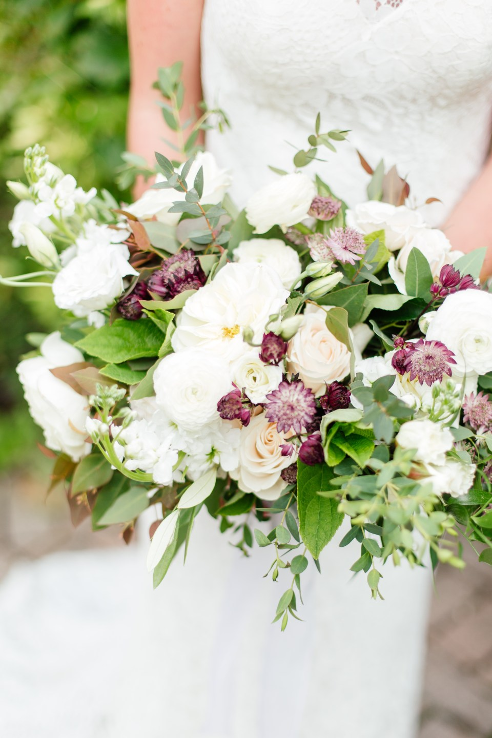 White and Burgundy Bridal Bouquet by Niagara Wedding Florist Threads & Blooms