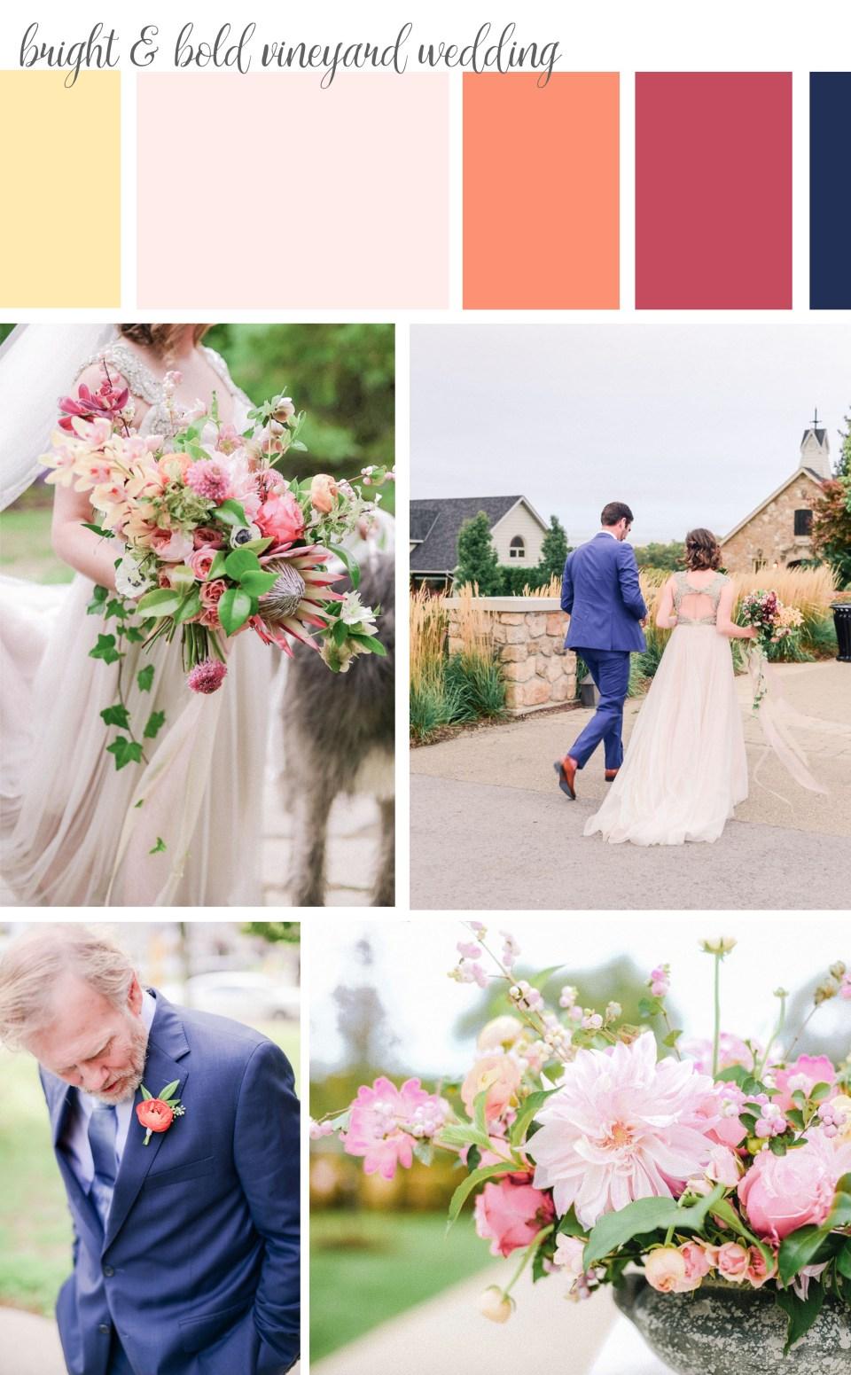 A vineyard wedding with a bright color palette | Niagara Wedding | Vineland Estates Wedding | Bold Wedding | Niagara Wedding Florist | Vineland Estates Wedding