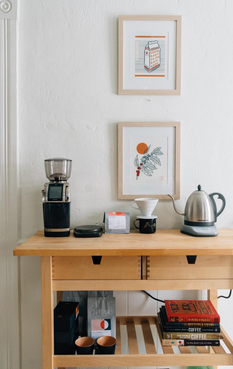 Dark Green Kitchen Cupboard - Vintage Inspired Kitchen - Coffee Station - At Home Coffee Station