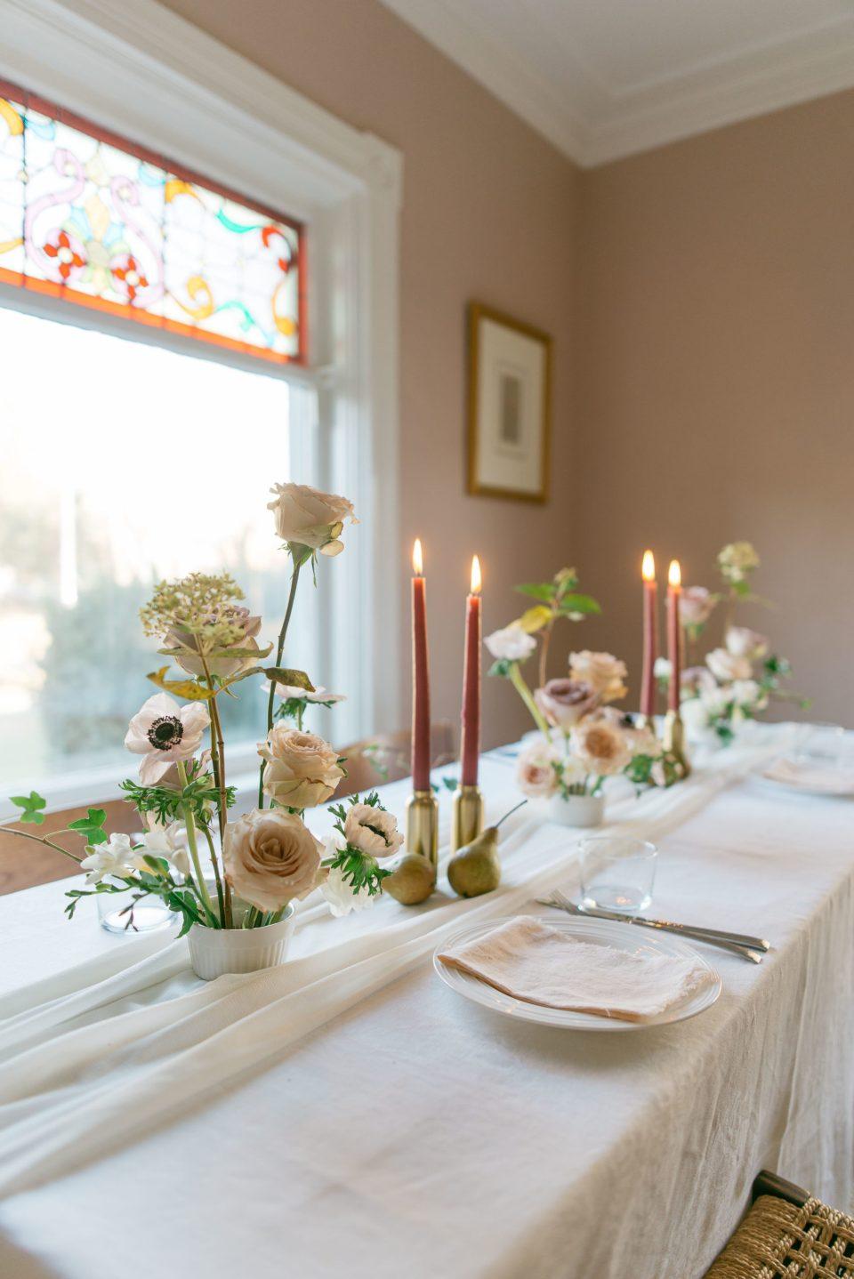 Centrepieces for Rectangular Tables | Wedding Centrepieces | Wedding Tablescape | Modern Floral Design
