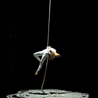 Lisa Jamhoury performs Threads Act 2 at Streb Lab for Action Mechanics.