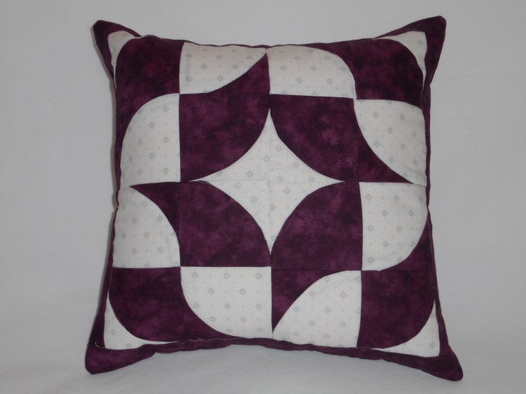 Drunkards Path Patchwork Cushion