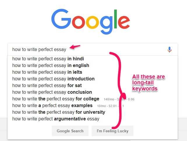 Google long tail keyword research to pick a niche