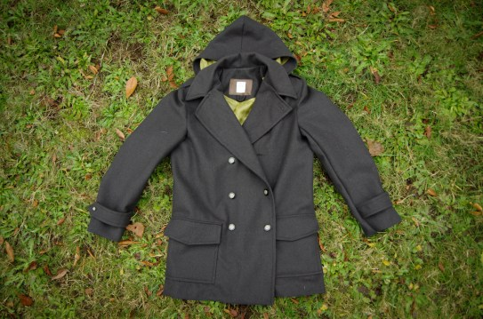 Our size Medium sample peacoat with all the pattern features.