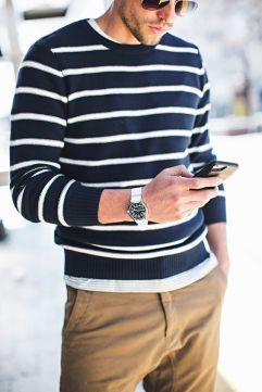 Nautical stripes and khaki menswear