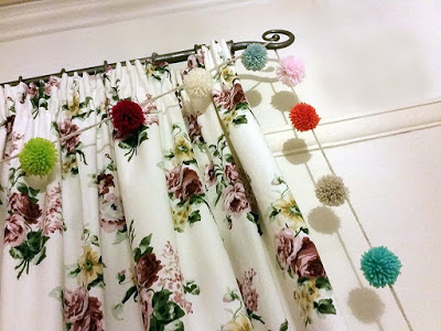pompoms, brighten up a kids room, curtains, curtain decor cheap and easy craft projects, cheap luxury decor