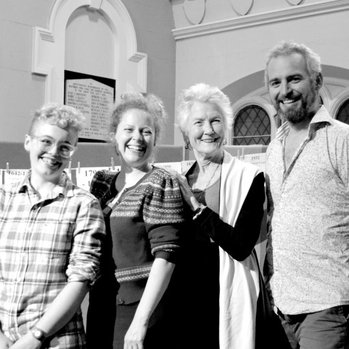 This actually happened... Peggy Seeger, Naomi, Rachel and Robin in Oxford