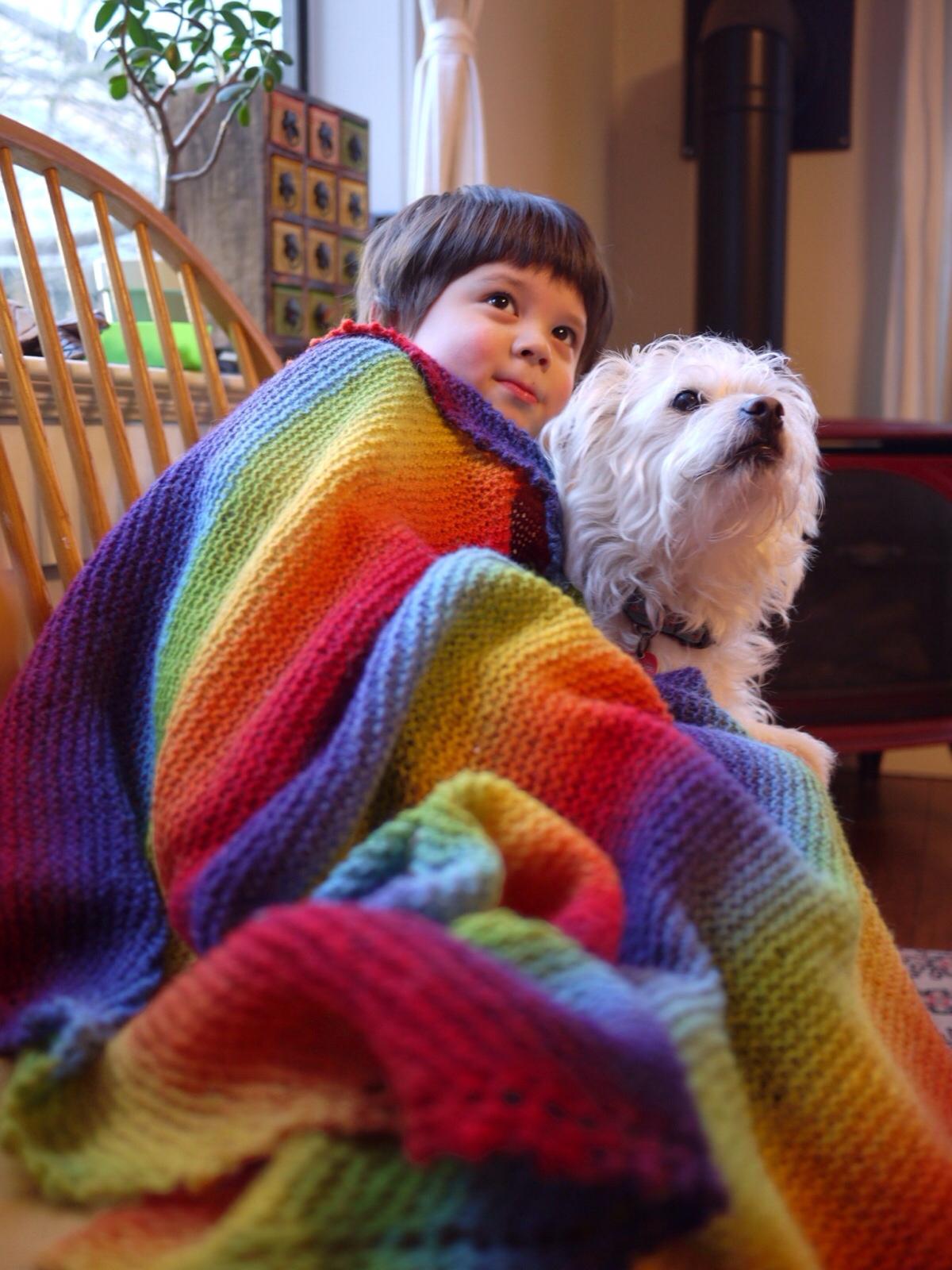 A Rainbow Blanket  Three Bags Full Yarn Store  Vancouver