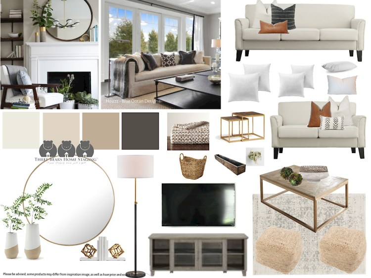 Neutral, transitional living room