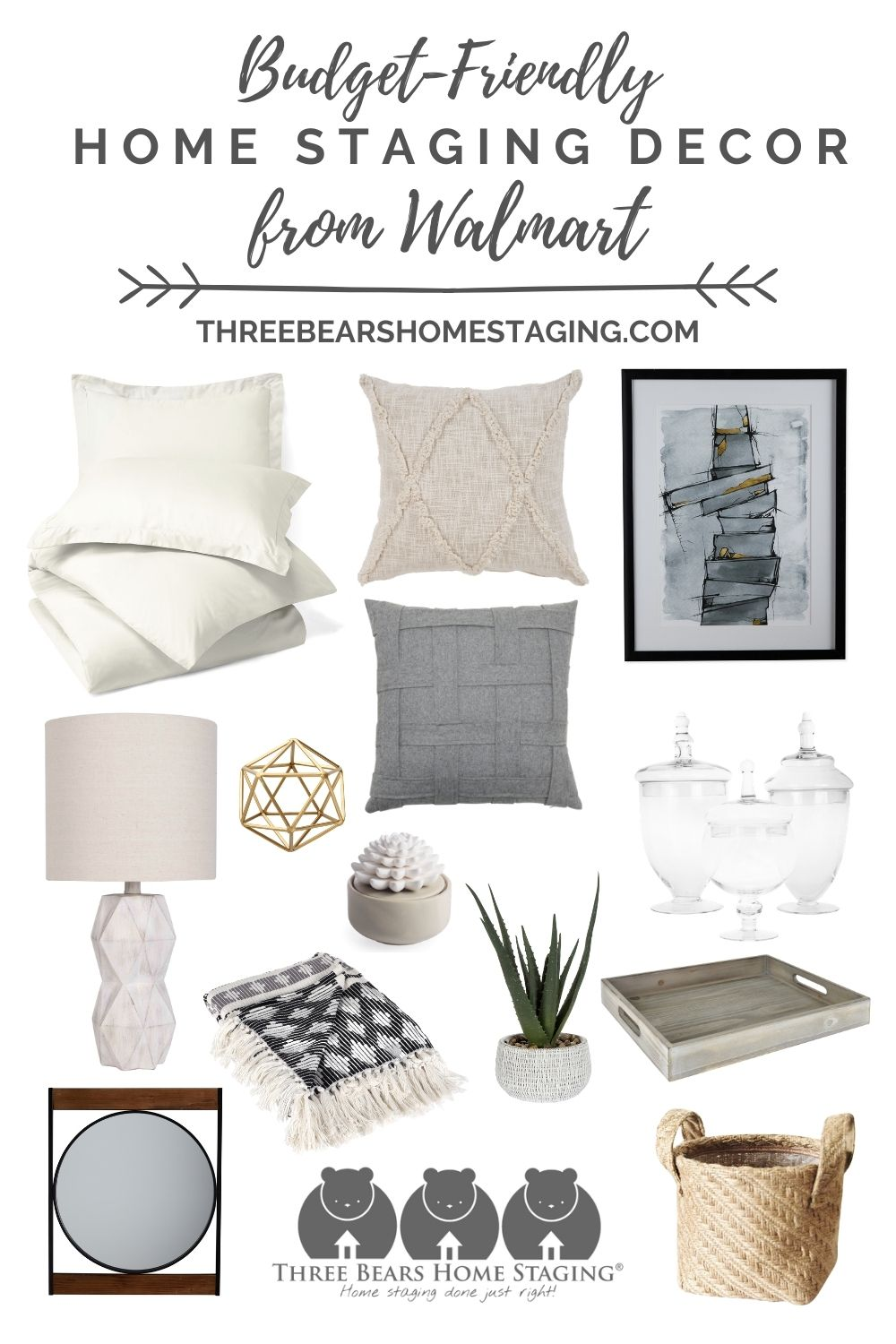 budget friendly home staging decor from Walmart